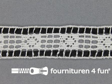 Kloskant 25mm lint wit - zwart