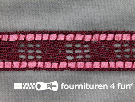 Kloskant 25mm lint bordeaux rood - roze