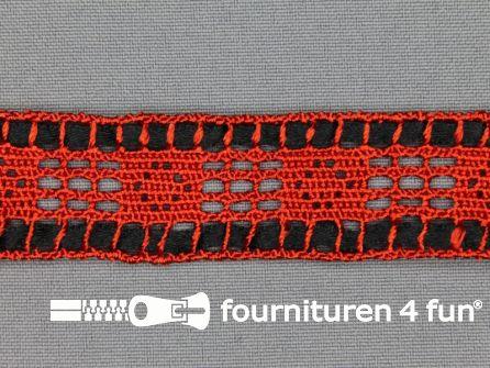 Kloskant 25mm lint rood - zwart