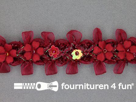Bloemenkant 27mm bordeaux rood