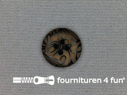 Design knoop 15mm krullen camel bruin