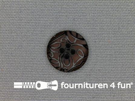 Design knoop 15mm krullen rood bruin