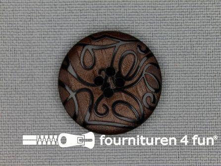 Design knoop 22mm krullen rood bruin