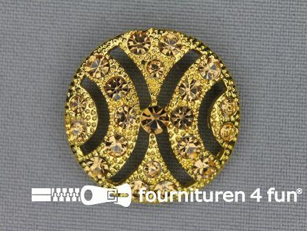 Design knoop 28mm strass goud