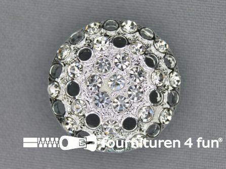 Design knoop 28mm strass zilver