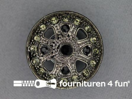 Design knoop 27mm strass zwart zilver