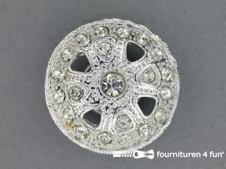 Design knoop 27mm strass zilver