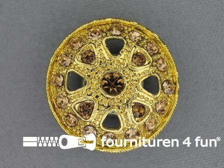 Design knoop 27mm strass goud