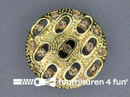 Design knoop 30mm strass goud