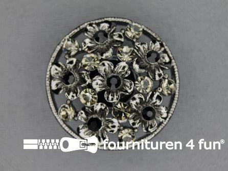 Design knoop 27mm bloemetjes zwart zilver