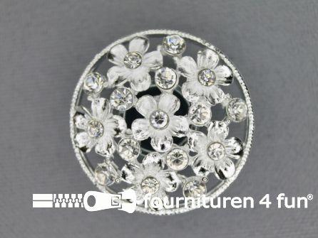 Design knoop 27mm bloemetjes zilver