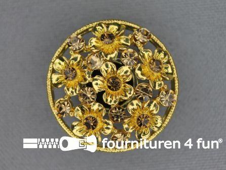 Design knoop 27mm bloemetjes goud
