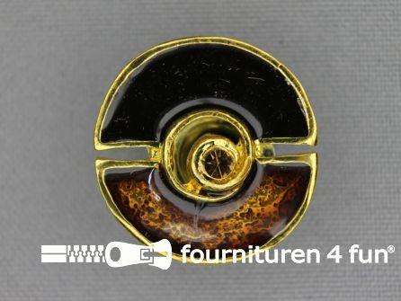 Design knoop 25mm bruin - goud