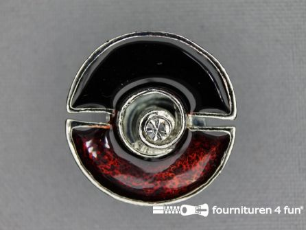 Design knoop 25mm bordeaux - chroom