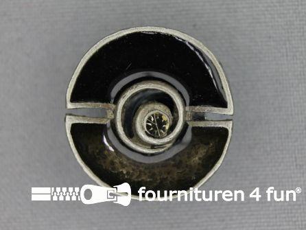 Design knoop 25mm grijs - antique zilver