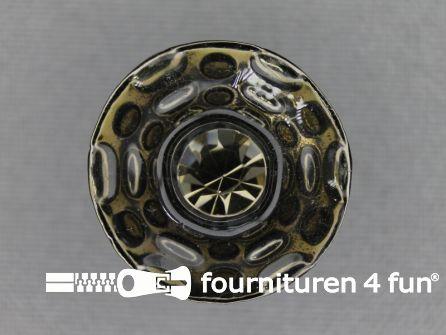 Design knoop 23mm taupe - zwart zilver