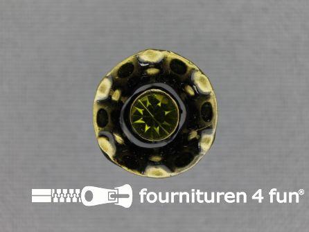 Design knoop 17mm groen - brons