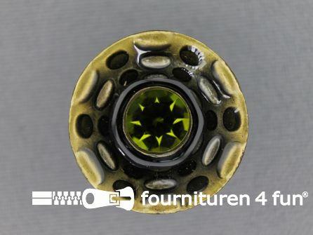 Design knoop 23mm groen - brons