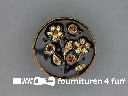 Design knoop 22mm bloem bruin