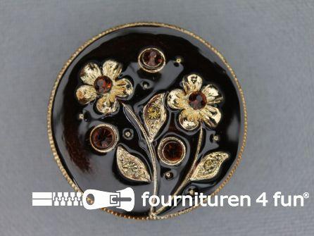 Design knoop 29mm bloem bruin