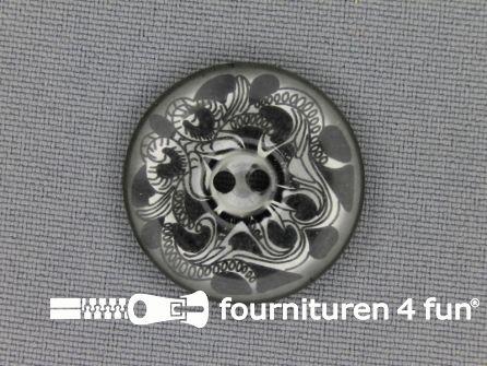 Design knoop 25mm donker grijs
