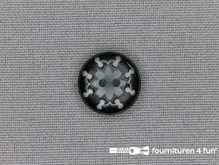 Design knoop 15mm bloem zwart - grijs