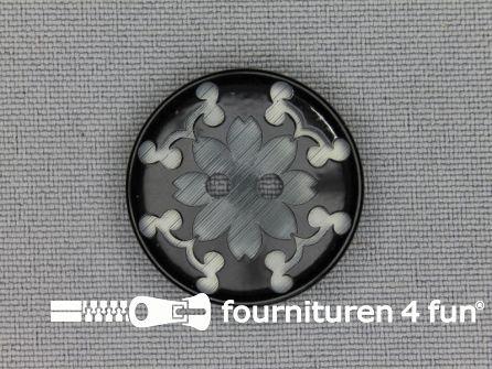Design knoop 25mm bloem zwart - grijs
