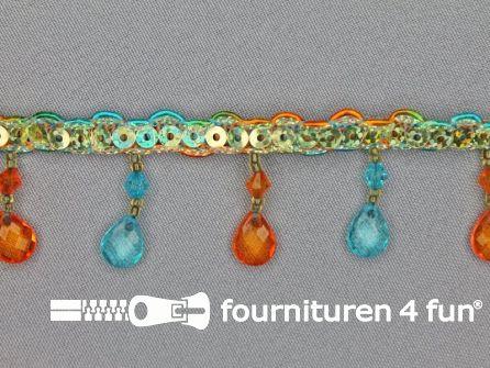 COUPON 3 stukken, totaal 6,8 meter (1+4+1,8 meter) Ibiza franje 30mm oranje - aqua blauw