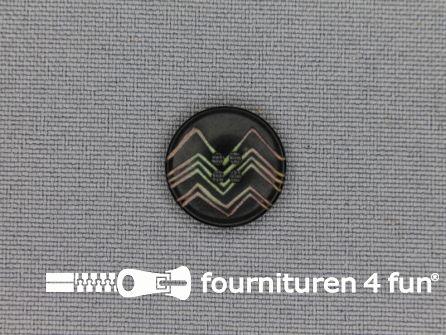 Design knoop 15mm zigzag zwart