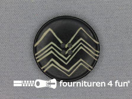 Design knoop 28mm zigzag zwart