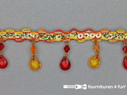 Ibiza franje 30mm geel - rood