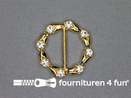 Strass stenen gesp 20mm rond goud