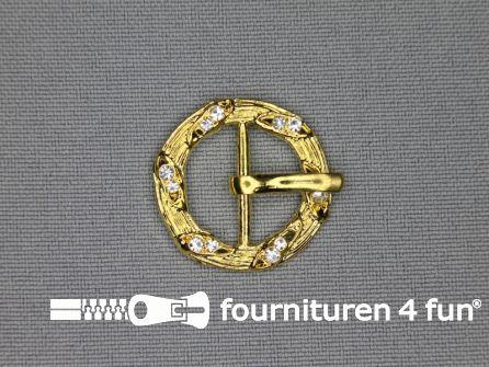 Strass stenen gesp 16mm rond goud