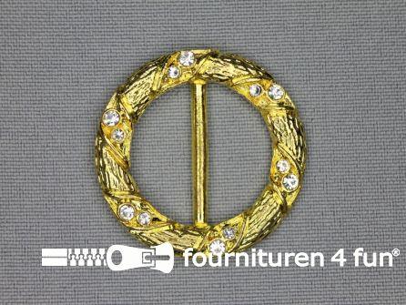 Strass stenen gesp 23mm rond goud