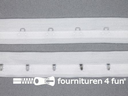 Haken- en ogen band 27mm wit