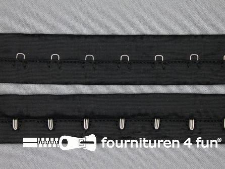 Haken- en ogen band 27mm zwart