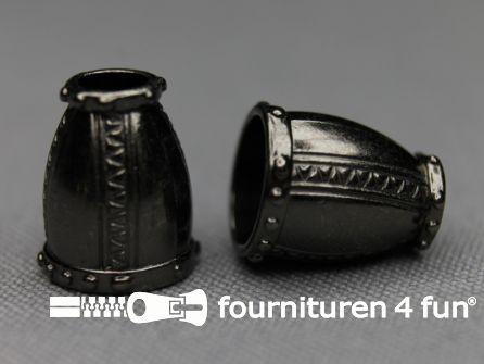 Metalen koord uiteinde 16mm zwart zilver