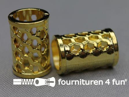 Metalen koord uiteinde 20mm goud