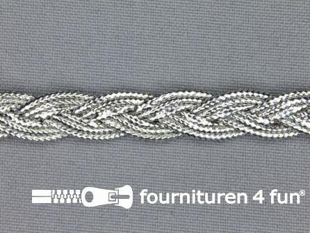 Zilver band 10mm gevlochten