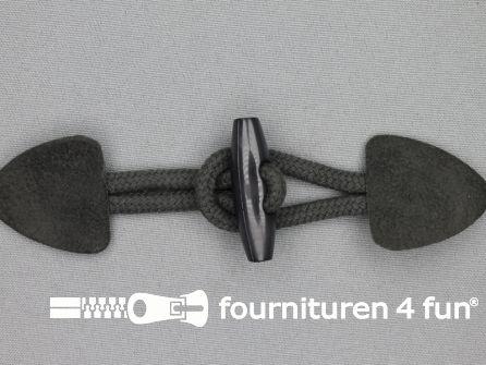 Suede houtje touwtje 150x40mm donker grijs