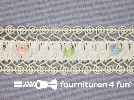 Bloemenkant 32mm kraaltjes ecru