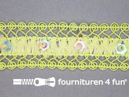 Bloemenkant 32mm kraaltjes geel