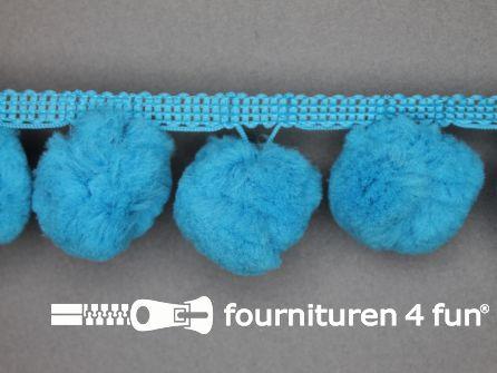 Pompon band 45mm (bol 30mm) aqua blauw
