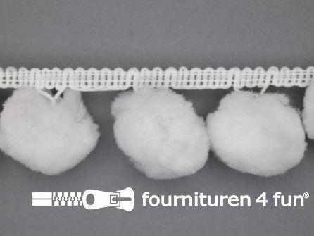 Pompon band 45mm (bol 30mm) wit