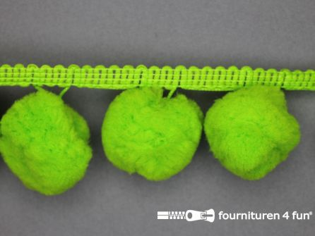 Pompon band 45mm (bol 30mm) lime groen