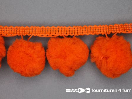 Pompon band 45mm (bol 30mm) oranje
