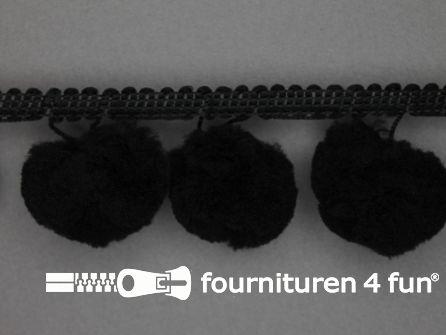Pompon band 45mm (bol 30mm) zwart