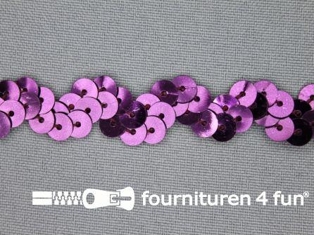 Pailletten zigzag band 15mm aubergine paars