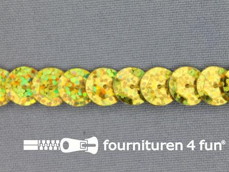 Pailletten band 10mm glitter goud met hologram