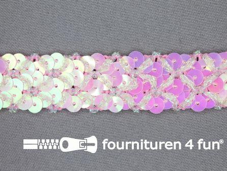 Pailletten band 20mm roze met ruitjes draad